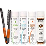 Complex Brazilian Keratin Blowout Hair Treatment 4 Bottles 300ml Value Kit Includes Sulfate Free and Easy Comb Queratina...