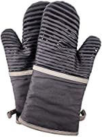 abnii Oven Gloves, Heat Resistant Non-Slip Silicone Waterproof Thick Heat Insulating Cotton Lining, Double Oven Mitts...