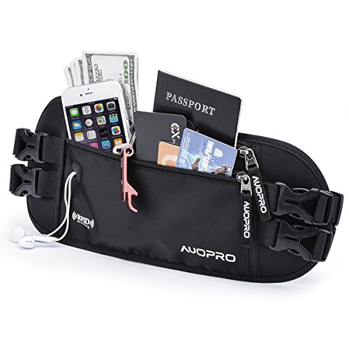 Hidden Money Belt, AUOPRO RFID Blocking Travel Wallet Passport Holder Security Waist Pouch for Women Men, Gifts for Travelers, 2 Adjustable Straps