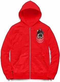 Fox Republic 消防士の帽子 ポケット パグの赤ちゃん 犬 レッド キッズ パーカー シッパー スウェット トレーナー 130cm