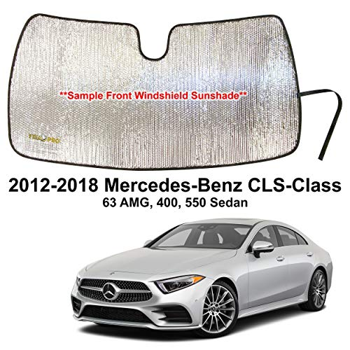 YelloPro Custom Fit Automotive Reflective Front Windshield Sunshade for 2012 2013 2014 2015 2016 2017 2018 Mercedes Benz CLS-Class 63 AMG, 400, 550 Sedan, UV Reflector Sun Protection Accessories