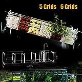 DENESTUS Fish Tank Filter Box 5 or 6 Grids External Hang On Filter Box Acrylic Aquarium Tools(6 Grids)