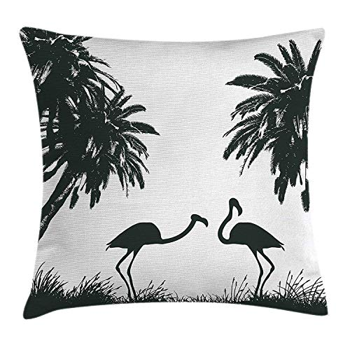 Jupsero Fundas de Almohada Nature Throw Pillow Cojín, Flamingo Birds Palmeras en Miami Exótica Obra de Arte Tropical, Cojín Decorativo Funda de Almohada Sofá 18' x 18 ', Verde Oscuro'