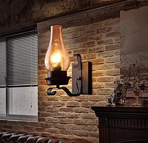 Kaper Go Lámpara de Pared Industrial de la Vendimia Elegante lámpara de Pared Antiguo Industrial Look Wall Candle Holder Negro Metal de la lámpara, Negro, A