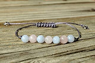 JP_Beads Blue Lace Agate Yoga Bracelet, Rose Quartz Yoga Bracelet, Throat Chakra, Heart Chakra, Meditation Bracelet, Calming, Love 6mm
