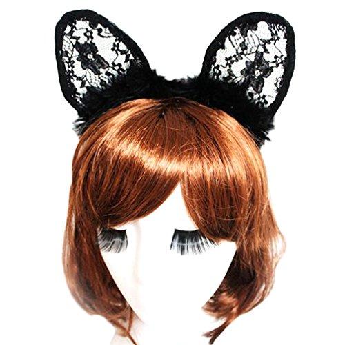 Bigood Halloween Coiffure Déguisement Serre-tête Oreilles Animal en Dentelle