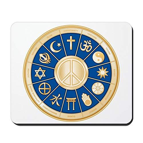 Gaming Mousepad Gummi Mauspad,Rutschfeste Mousemat International Peace Symbol Religionen 30X25CM,Maus Mausunterlage,Rutschfeste Unterseite
