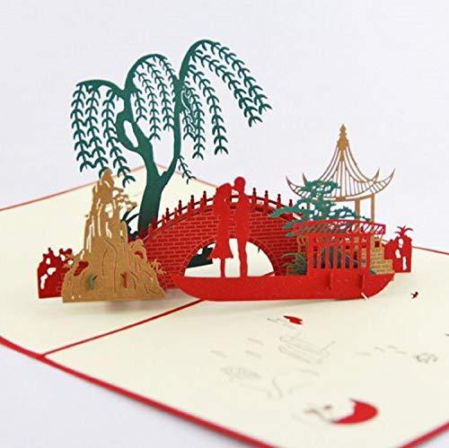 BC Worldwide Ltd handgemachte 3D-Pop-up-Karte orientalisch asiatischen Pavillon Pavillon Garten Geburtstag, Hochzeitstag, Valentinstag, Muttertag, Vatertagskarte