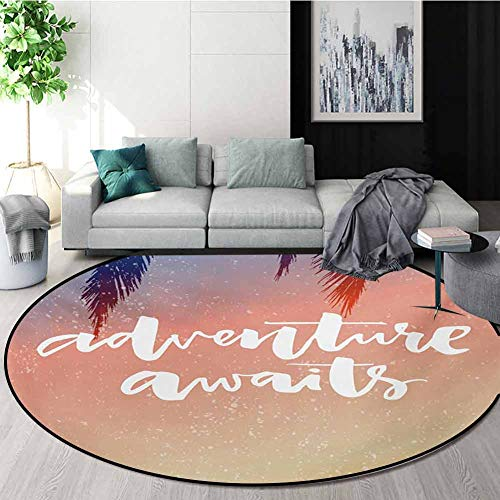 Read About Adventure Modern Machine Washable Round Bath Mat,Artistic Interpretation of Motivational ...