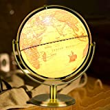 Globes of The World with Stand for Kids 8 Inchs Retro Illuminated Full 720°Rotation World Globe Night Light Built-in LED Decor Interactive Educational Learning Toys for Cafe Home and Office Decoration