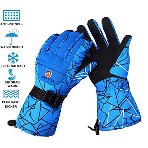 ICOCO Skihandschuhe, Blau Herren Ski Snowboard Handschuhe Wasserdicht Warm Winterhandschuhe Winddicht Wasserdicht Outdoor Sports Thermal Guantes
