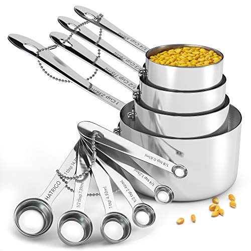 Heavy-Duty Unbreakable 18/8 Stainless Steel Measuring Cups and Spoons Set with Long Riveted Handles, Polished Stackable Measuring Cup and Measuring Spoon, Built to Last a Lifetime - Set of 10