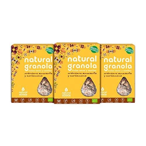 Granola Natural Athlete, Frutos Secos y Semillas, Sin Azúcar Refinado, Sin Gluten, Sin Cereales, Vegana, Arándano, Amaranto y Cardamomo -Pack 3x325
