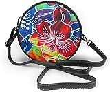BAODANLA Bolso redondo mujer Hawaii Flower Women Soft Leather Round Shoulder Bag Zipper Circle Purses Sling Bag
