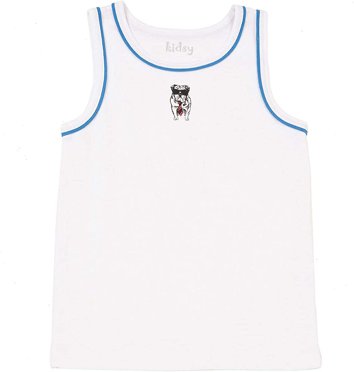 Kidsy Boys Cool Bulldog, Tiger, Monster Graphic Printed Peruvian Cotton Tank Tops for 2, 3, 4, 5, 6, 8 Years