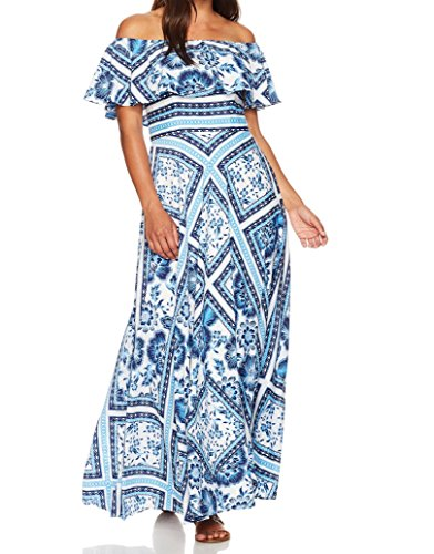 Eliza J Women's Scarf Print Maxi Dress (Regular and Petite), Blue/Multi, 6