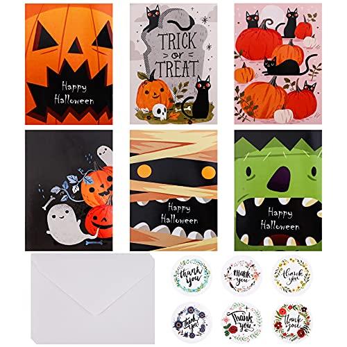 GLAITC 18 Pezzi Biglietti D'Auguri di Halloween con Buste E Adesivi di Halloween Assortimento Biglietti Auguri Halloween Invito alla Festa di Halloween per Forniture Halloween,6 Stili
