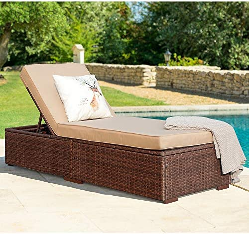 Best Patiorama Outdoor Patio Chaise Lounge Chair, Elegant Reclining Adjustable Pool Rattan Chaise Lounge