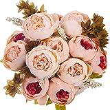 ANWBROAD Ramo de flores artificiales de peonía vintage 2 unidades flores de seda realista ramo de flores para el hogar boda oficina decoración de fiestas arreglos florales centros de mesa champán
