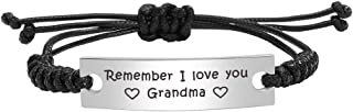 ABNTY Remember I Love You,Handmade Rope Braided Adjustable Bracelets for Your Grandma Mimi Nana Gigi Nonna,Brithday Idea