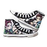 MYLXDN Demon Slayer: Kimetsu No Yaiba Zapatos De Lona con Estampado De Anime Planos para Niños Y Niñas para Adolescentes Hombres Mujeres Canvas Shoes Zapatilla De Deporte De Lona 37