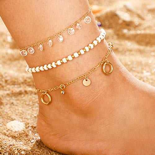 Sethain Boho Beads Anklet White Layered Crystal Ankle Bracelets Pendant Foot Jewelry for Women and Girls
