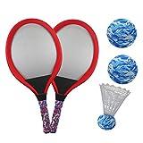 YIMORE Racchette Tennis Bambini con Palle Badminton Volano 3 in 1 Giochi da Allaperto Giardino per Ragazzi e Ragazze (Rosso)