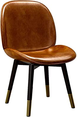 Faux Leather Dining Chair Comfortable Durable Wrought Iron Makeup Chair, Smooth Surface Easy to Clean Home Kitchen Chairs (Color : Brown)