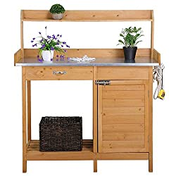 top 10 potting benches YAHEETECH outdoor garden table workbench metal table cabinet with drawer outdoor…