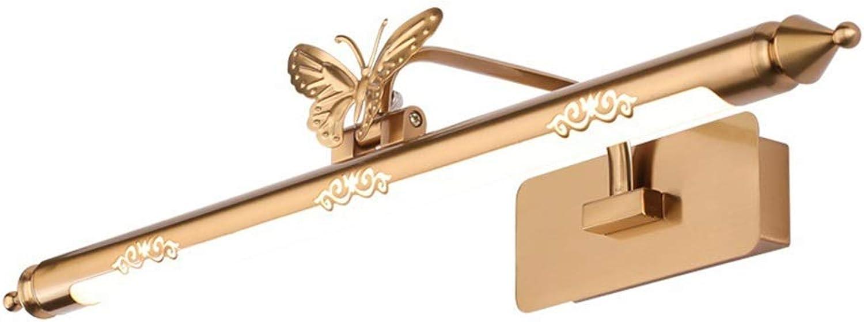 BAIF Spiegelfrontleuchte Badezimmerspiegelleuchten LED Badleuchte Retro Wandleuchte Wasserdicht Spiegelschrankleuchte Feuchtraum Gold [Energieklasse A +] (Gre  62cm   12w)