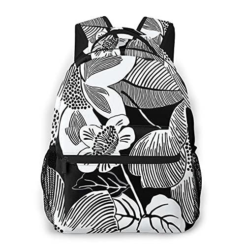 Zhouwe Zaini in bianco e nero fiori per la scuola libri borse college borsa da trasporto leggero viaggio sport Daypacks