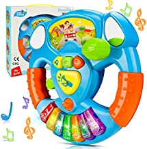 BeebeeRun Baby Musical Toys Steering Wheel, Toddler Electronic Light Up Keyboard Learning Toy Set, Mini Driving Educational Development Music Toys for Toddlers and Kids