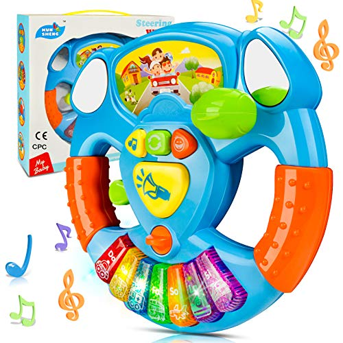 HOMETTER Baby Musical Toys Steering Wheel, Toddler Electronic Light Up Keyboard Learning Toy Set,...
