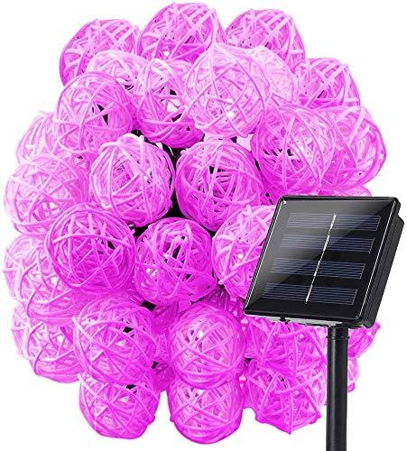 Solar Rattan bola Hada Luz de la secuencia de las linternas impermeables fácil llevar Navidad de la boda de Big House Party decoraciones caseras (Color : Warm White)
