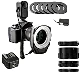 Playmont Macro Ring Light Kit + Macro Extension Tube Set + Hot Shoe Adapter, for Sony Alpha Series SLT-A3