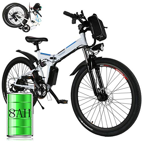 Bunao 26 inch Wheel Electric Bike Aluminum Alloy Frame 36V 8AH Lithium Battery Mountain Bike Cycling Bicycle, 7-gear Transmission (26 inch_3)