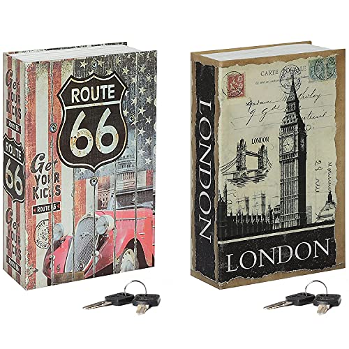 Jssmst Diversion Book Safe with Key Lock, Secrect Hidden Safe Lock Box for Home Office Locking Money Box High Capacity, 9.5 x 6.2 x 2.2 inch, SMBS019 Route 66 bundle with London Bridge