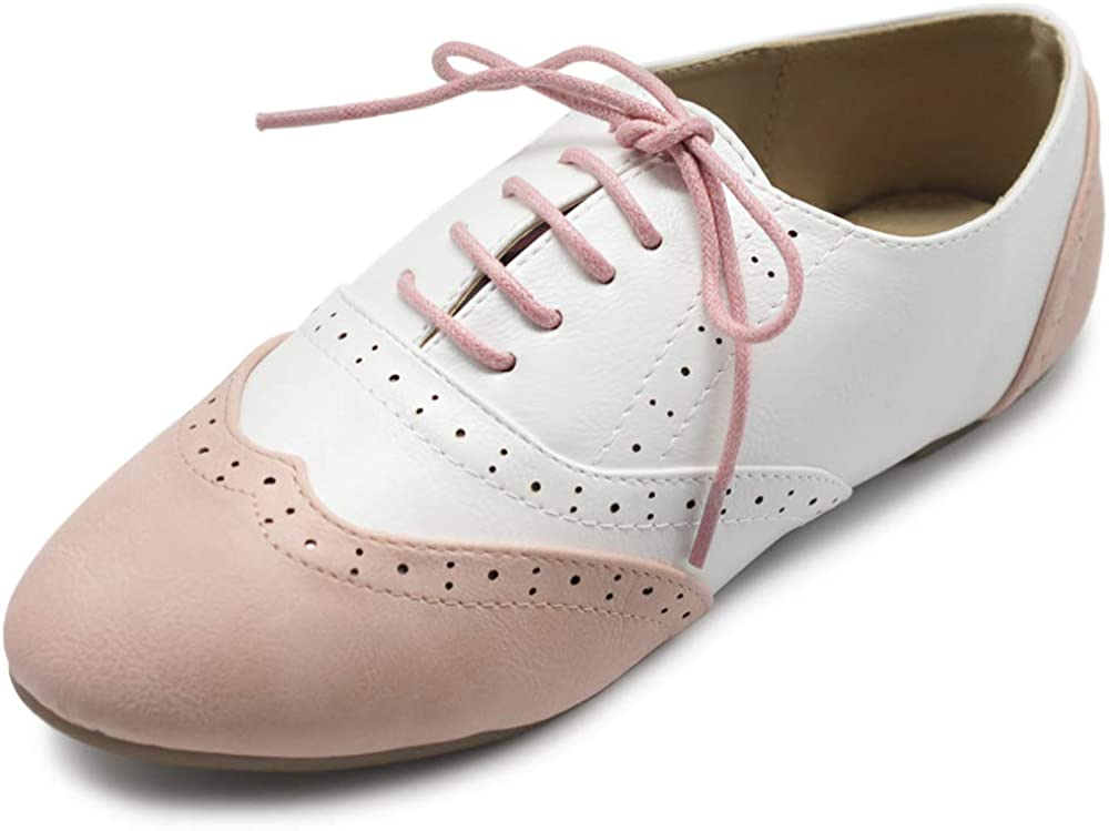 Ollio Women's Shoe Classic specialty shop Lace Up Dress Heel Courier shipping free Oxford Low Flat