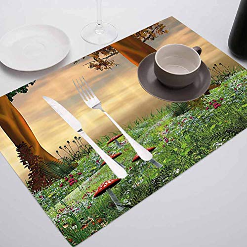 Decor Heat-Resistant Table Mat Placemats, Nature Enchanted Woods Summer Season Mushrooms F, for Dining Kitchen Restaurant Table, Set of 6