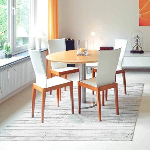 Tapis Salon antidérapant White Wood - 150x150 Tapis de Protection de Sol en Vinyle 100% fabriqué en Italie, avec Encre Non Toxique, Ignifuge et résistant à l