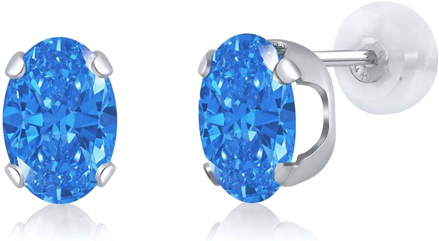 2.42 Ct Fancy bluee 14K White gold Earrings Made With Swarovski Zirconia