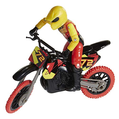 MXS Motocross Bike Toys Moto Extreme Sports, Bike & Rider with SFX Sounds by Jakks Pacific Action Figure Playsets - #72 Red & Yellow Rider, for Kids Ages 5+, Model:405042