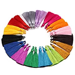 Package includes--30pcs Handmade Long Silk Tassel for Jewelry Making ,15 Different color designs 2pcs of each Size--Length about 80mm,The inner diameter of the loop is approximately 3.5mm TOP-QUALITY--Made of High Quality Imitation silk ,manufactured...