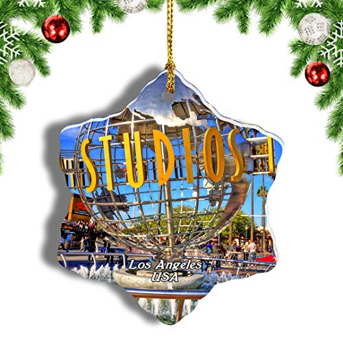 Weekino USA America Universal Studios Hollywood Los Angeles Christmas Ornament Travel Souvenir Tree Hanging Pendant Decoration Porcelain 866' Double Sided