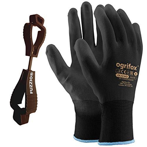 24 Paar Ogrifox PU besichtet Arbeitshandschuhe mit FUZZIO Handschuh-Klammer (XL-10, Schwarz)