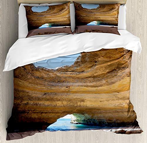 ABAKUHAUS Grot Dekbedovertrekset, Sea Cave Benagil Portugal, Decoratieve 3-delige Bedset met 2 Sierslopen, 230 cm x 220 cm, Sand Brown Pale Blue