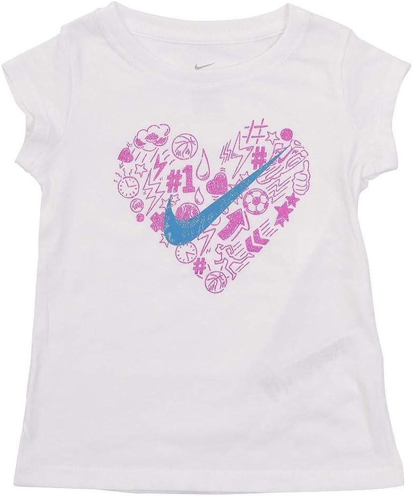 Nike Toddler & Girls White Purple & Blue Heart Athletic T-Shirt Tee Shirt