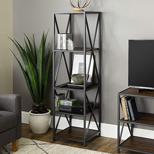 Walker Edison Furniture Company 4 Tier Open Shelf Wood Tall Metal Bookcase Bookshelf Home Office Storage Cabinet, Walnut Brown