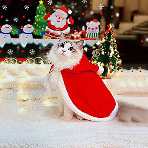 Disfraz para Mascotas Navidad, Perrito De Navidad Ropa, Ropa De Santa De Gato De Mascota, con Vestido Y Gorro,L