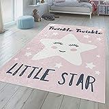 TT Home Alfombra Infantil Niña Lavable Estrella Dormida Frase Bonita Rosa Blanco, Größe:140x200 cm